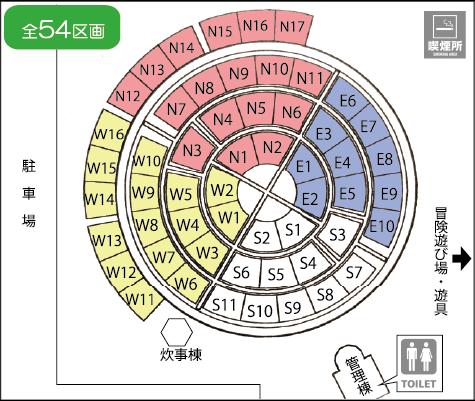 画像:区画図 全54区画 東西南北に分けられています。N1〜N17/E1〜E10/S1〜S11/W1〜W16